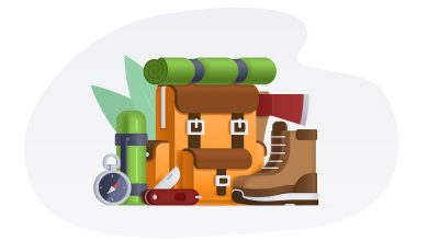 Photo of Camping Items Vector Illustration