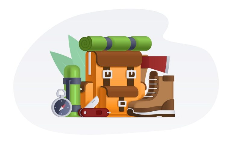 Camping Items - Vector Illustration