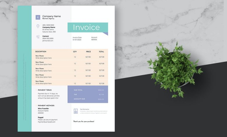 Clean Blue Business Invoice for InDesign