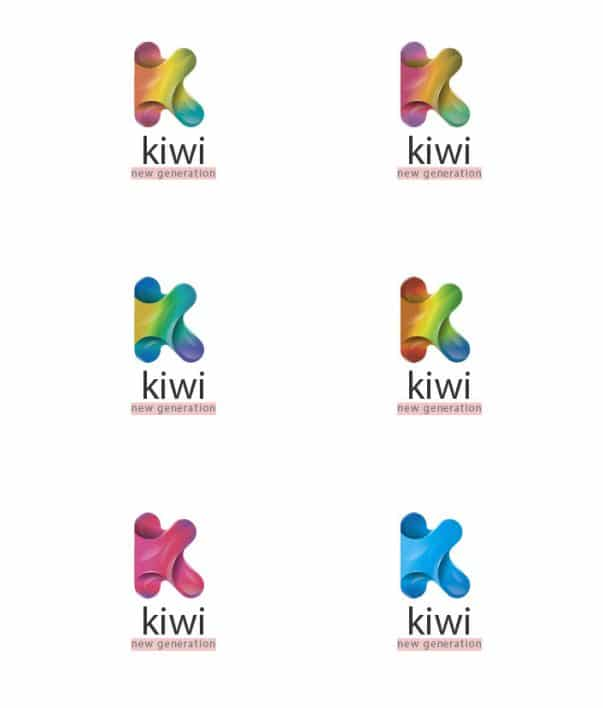 Differents colors of logo with letter k