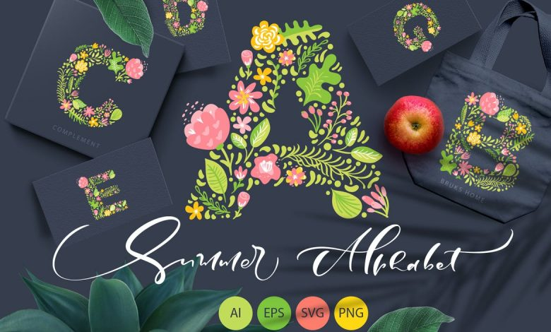 Hand Drawn Summer Flower Alphabet SVG