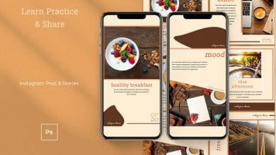 Photo of [Photoshop] Instagram Post and Stories Brown Template