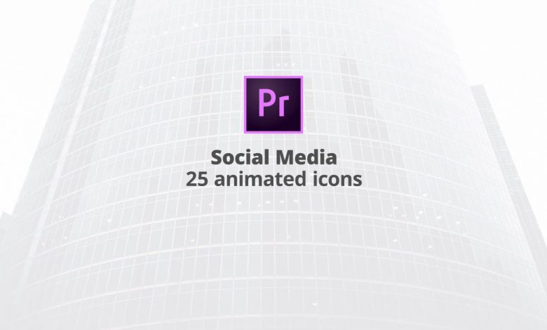 25 Social Media Flat Animation icons for Premiere Pro
