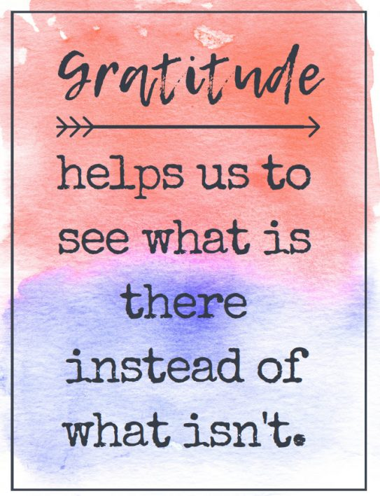 Gratitude helps us to see what is there instead of what isn't
