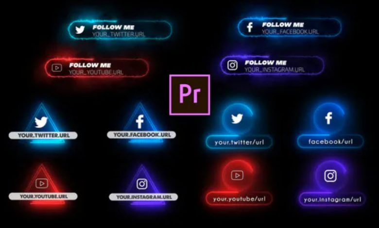 Neon Social Media Lower Thirds for Premiere Pro