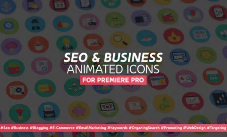 100 Seo & Business Modern Flat Animated Icons for Premiere Pro