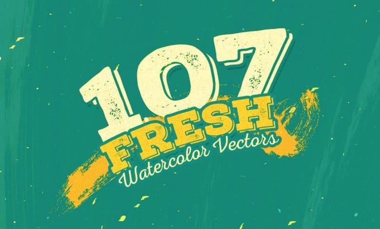107 Fresh Watercolour Vectors for Illustrator