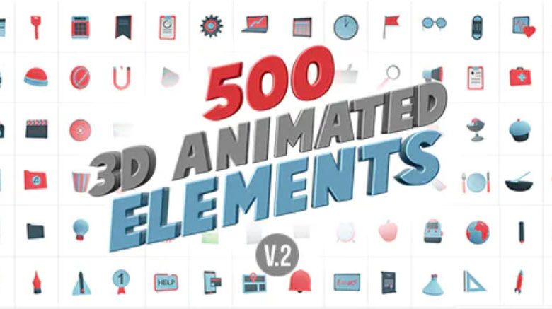 3D Animated Elements Library for After Effects