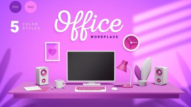 Photo of [Photoshop] 3D Office Workplace With 5 Different Colors