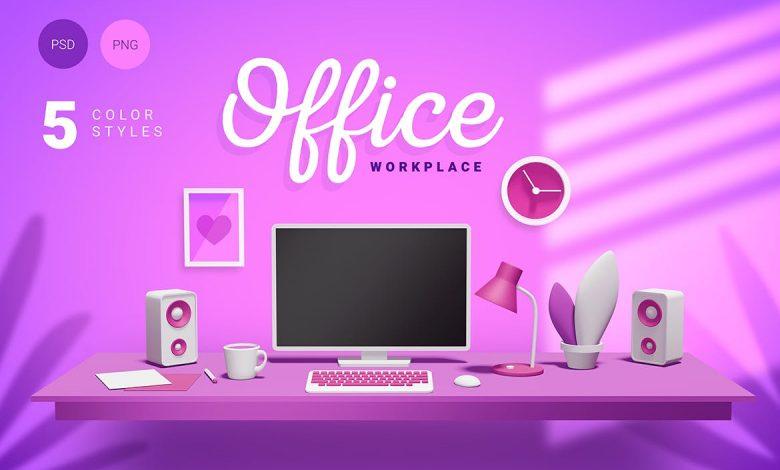 3d office workplace for photosjop