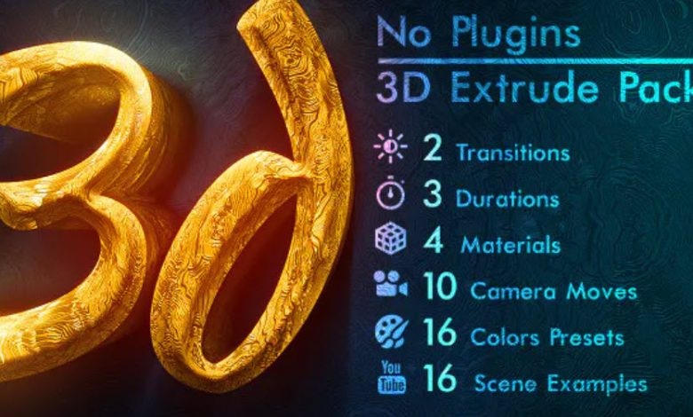 3d Gold Titles and Logo for After Effects