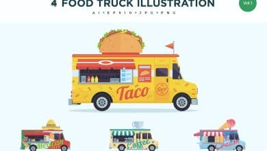Photo of [Illustrator] 4 Food Truck Vector Illustration Set 1