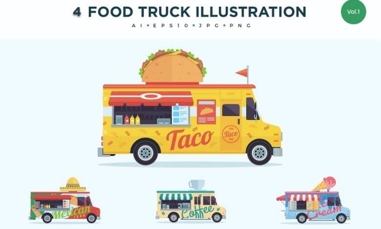 4 Food Truck Vector Illustration Set 1 for Illustrator