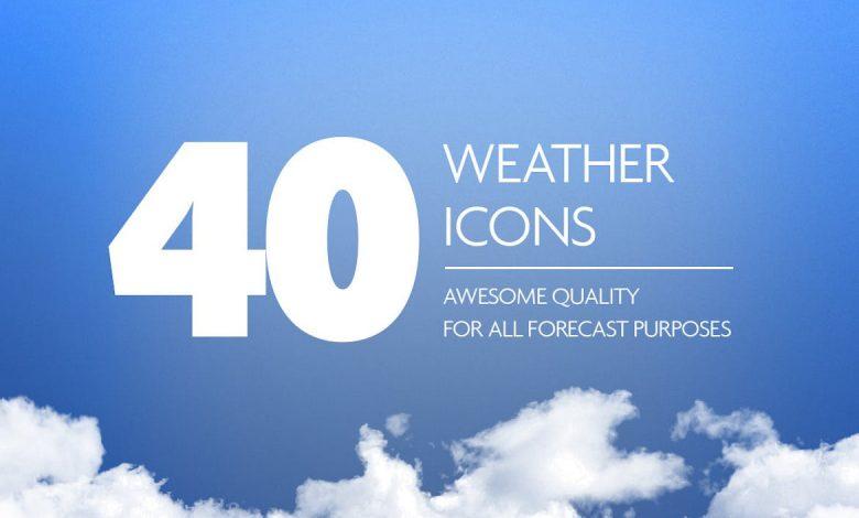 40 Weather Forecast Icon Set