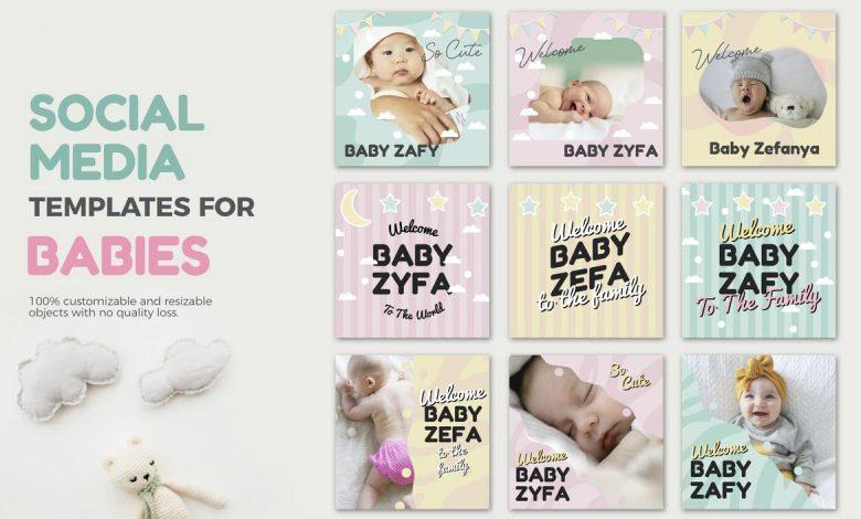 Baby Media Banners for Illustrator