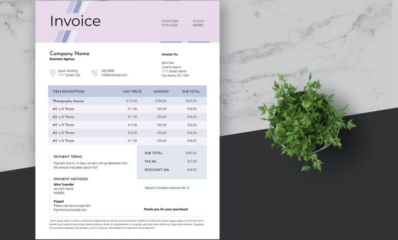 Clean Invoice Template with Pink Style for InDesign