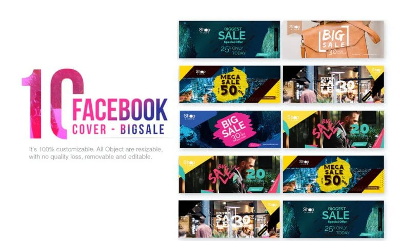 10 Facebook Cover Big Sale for Photoshop