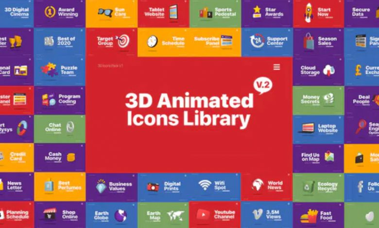 3D Animated Icons Library for After Effects