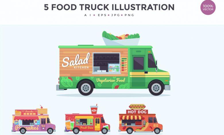 4 Food Truck Vector Illustration Set 3
