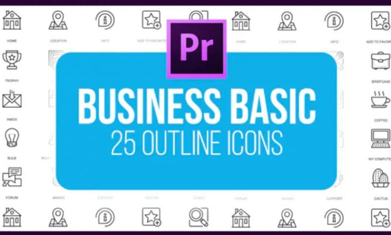 Business Basic - Outline Animated Icons (MOGRT) for Premiere Pro