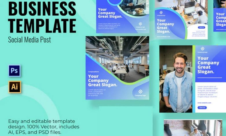 Business Company Social Media Template for Photoshop and Illustrator