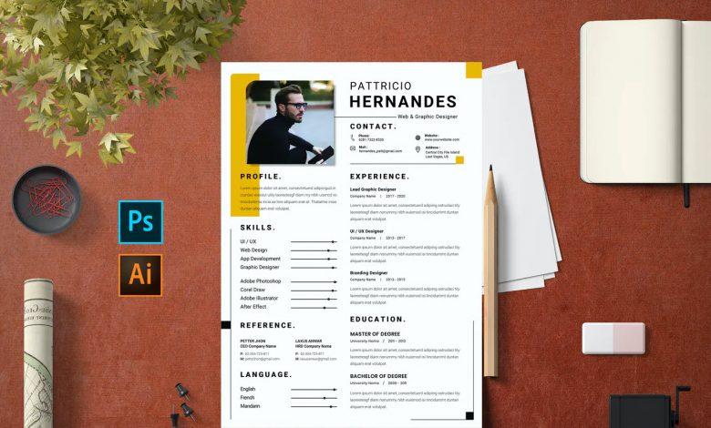 CV Resume Free Template 1 for Illustrator