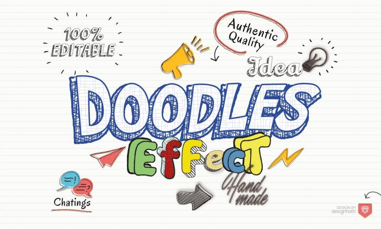Doodles Text Effect Action for Illustrator