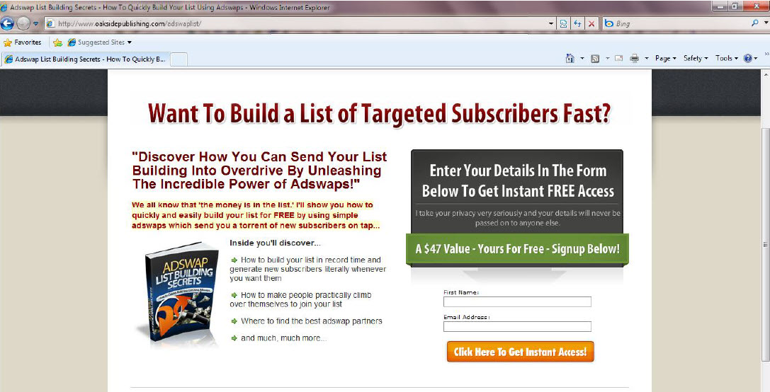 Example squeeze page how to build a list in affiliate marketing