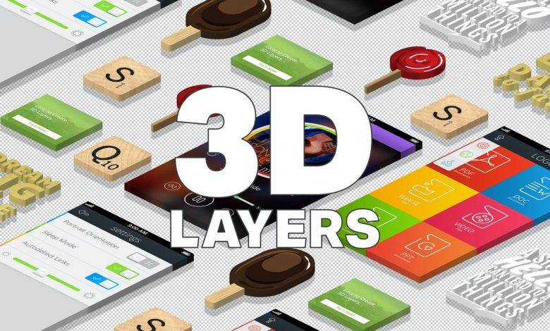 3D Isometric Layers Action for Photoshop