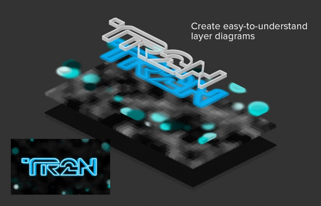 3D Isometric Layers Display Layer