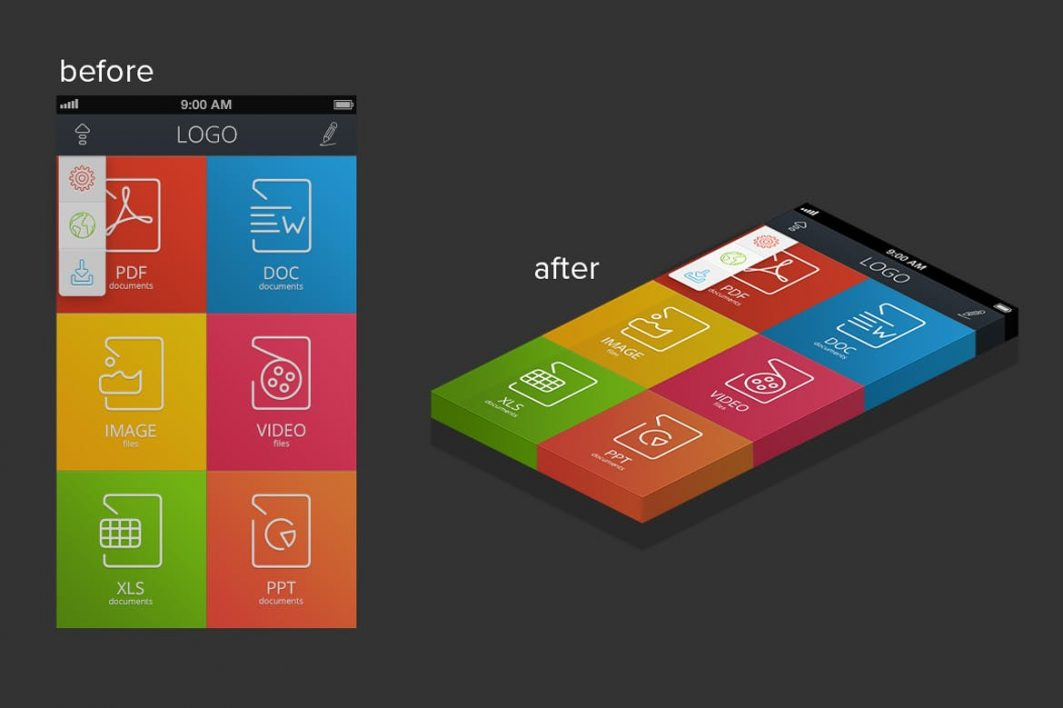 3D Isometric Layers Mobile View