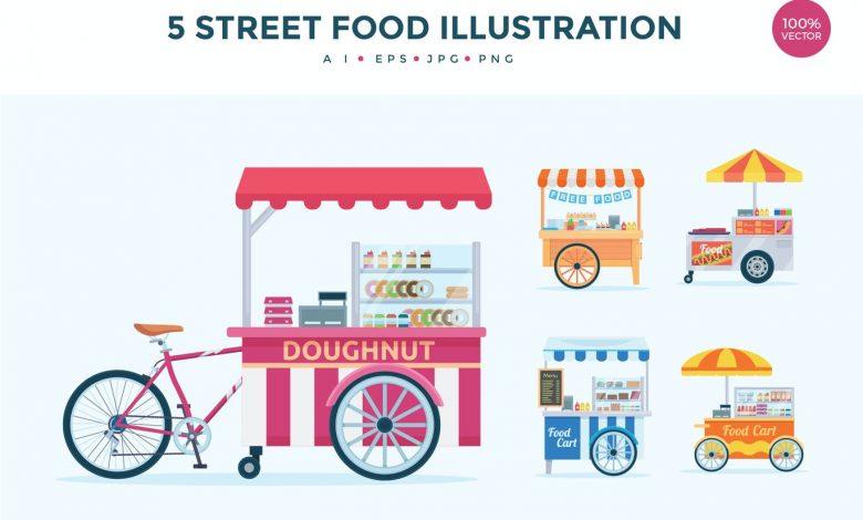 5 Street Food Stall Vector Illustration Set for Illustrator