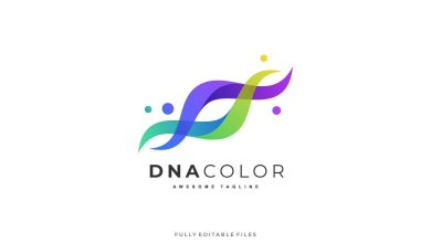 Photo of [Illustrator] Abstract DNA Color Gradient logo