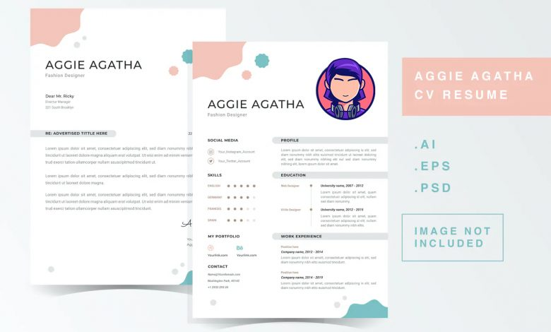 CV Resume Template 1 for Photoshop and Illustrator