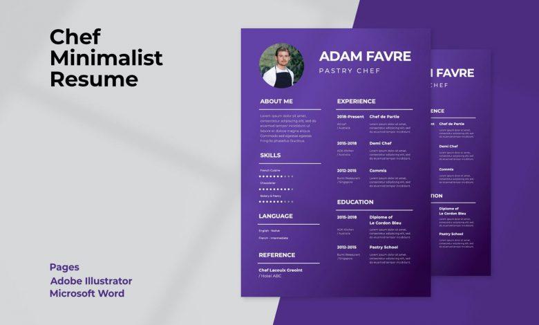 Chef CV Minimalist for Illustrator and Microsoft Word
