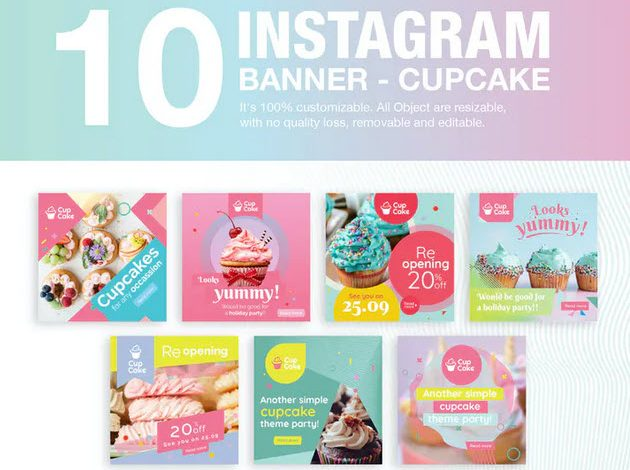 10 Instagram Post Banner Cupcake for Photoshop