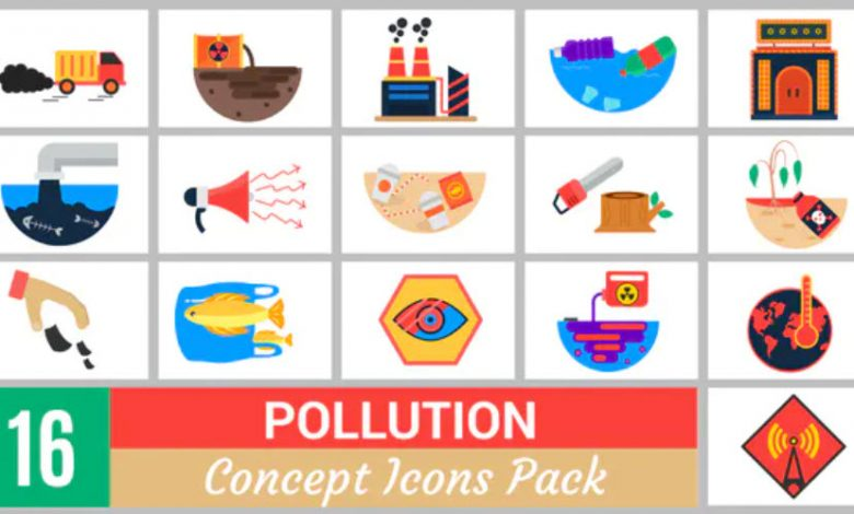 16 Pollution Concept Icons Pack for Premiere Pro