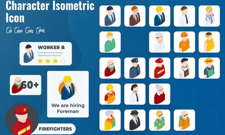21 Iconset Isometric Character for Adobe Illustrator