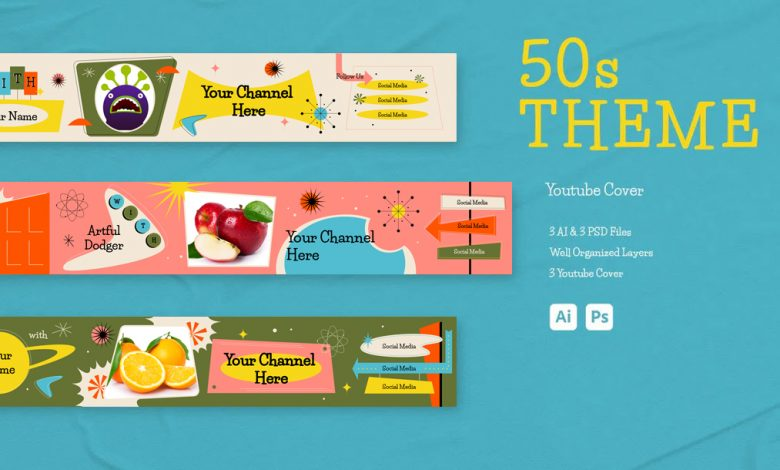 50s Theme Youtube Cover for Photoshop and Illustrator