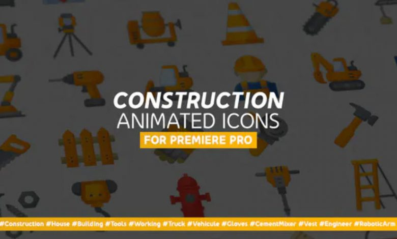 Construction and Painting Modern Flat Animated Icons for Premiere Pro