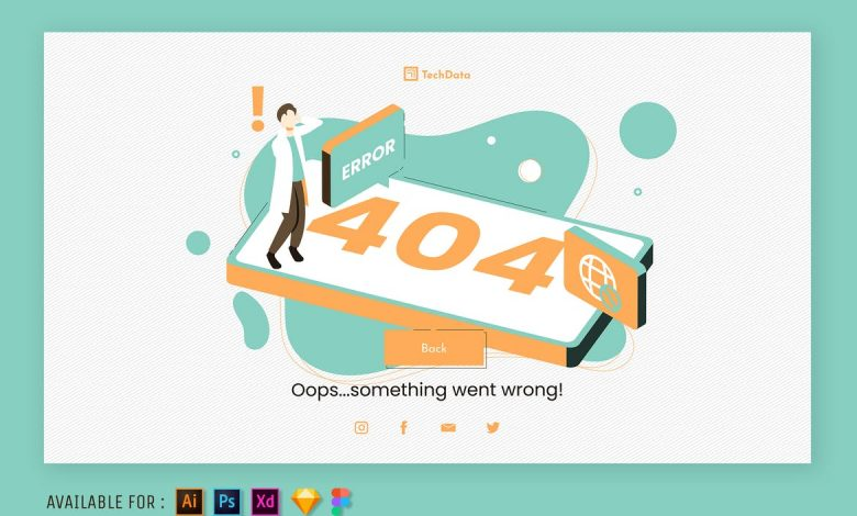 404 Page Error - Web Isometric Illustration for Photoshop, Illustrator and more
