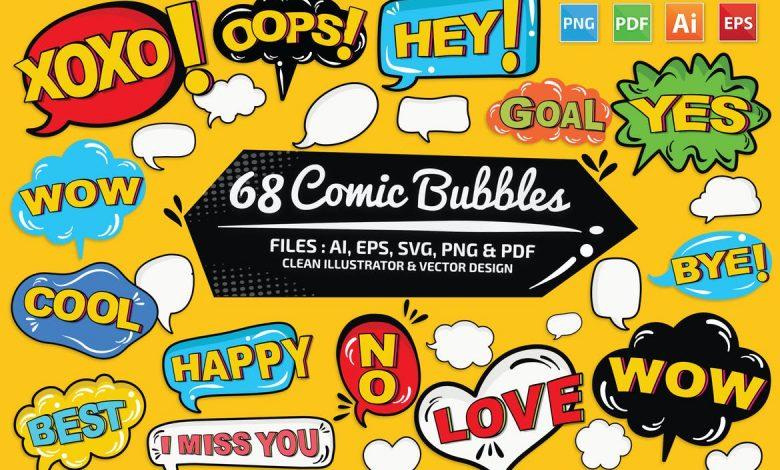 68 Comic Speech Bubbles for Adobe Illustrator