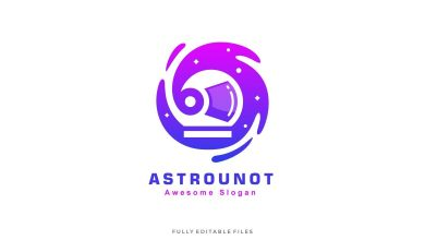 Photo of [Illustrator] Abstract Astronaut Color Gradient Logo Template