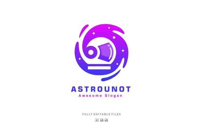 Abstract Astronaut Color Gradient Logo Template for Adobe Illustrator