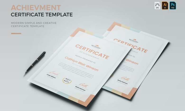 Achievement Certificate for Photoshop and Illustrator