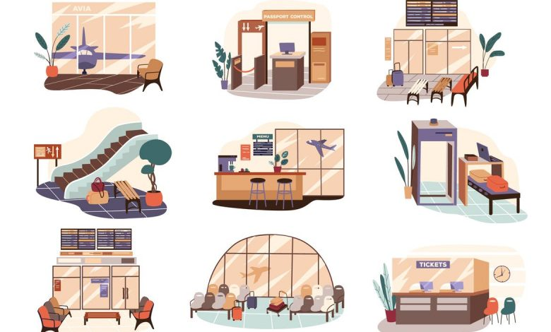 Airport Terminal Set Isolated Elements for Illustrator