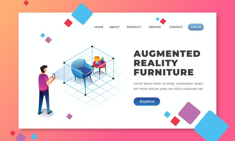 Augmented Reality Furniture - Landing Page for Illustrator and Photoshop