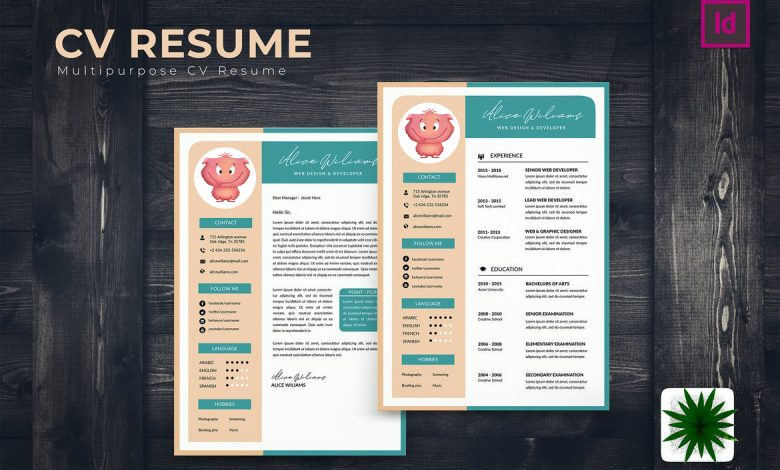 Available CV Resume for Adobe InDesign