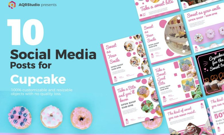Cupcake Posts for Social Media Illustrator