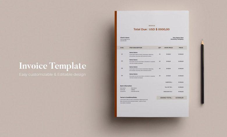 Invoice Design Template 4 for Illustrator